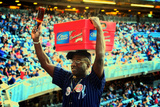Vendor Selling Cold Beverages at a Baseball Game in Yankee Stadi Photographic Print by Sabine Jacobs