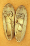 Pair of Ballet or Dancing Shoes Once White But Now Used and Grubby Sitting One Face Down Photographic Print by Den Reader