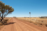 Hot Dusty Road across Flat Landscape with Water Vane Photographic Print by Will Wilkinson