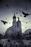 European Church Building with Pidgeons in Town Square Photographic Print by Svante Oldenburg