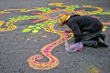 Street Artist Working with Colored Sand, Manhattan, New York Cit Photographic Print by Sabine Jacobs