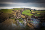 A View from a High Point over Heather and Fields in England Photographic Print by Will Wilkinson