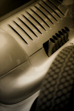 Vintage Racing Car with Exhaust and Air Vents Close Up Fotodruck von Will Wilkinson