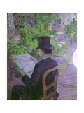 Musician Desire Dihau Reading a Newspaper in the Garden Print by Henri de Toulouse-Lautrec