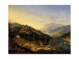 Hilly Landscape with River Prints by Jan Griffier