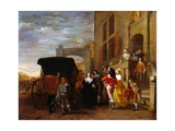 Figures and Carriage in Front of a Villa Posters by Ludolf de Jongh