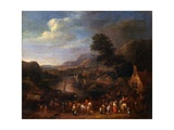 Landscape with Figures and a Village Near a River Print by Karel Breydel