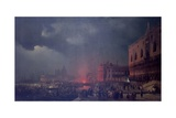 Lights in Venice (Night Scene of a Outdoor Party in Venice) Prints by Ippolito Caffi