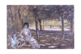In the Garden (Woman and Child in Sun Dappled Garden) Art by Giuseppe De Nittis