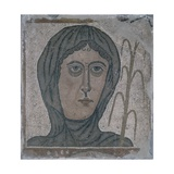 Mosaic of Woman's with Scarfed Head, 350-399 AD. from a Roman Villa Print