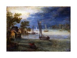 River View with Boats, Artist in Circle of Jan Brueghel the Elder, C.1590 Prints