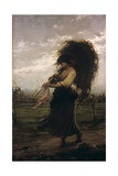 Country Woman (Barefooted Woman Carrying Bundle of Grain or Hay) Poster by Luigi Cima