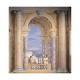 Villa Revedin Ballroom Decoration, Fictitious Loggia with Man Feeding Parrot Posters by Giacomo Casa