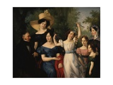 Palumbo-Fossati Family, 1829, Father, Mother, Four Daughters, and a Grandmother Premium Giclee Print