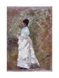 Walking in the Garden (Woman Dressed in White) Affiche par Giuseppe De Nittis