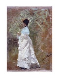 Walking in the Garden (Woman Dressed in White) Print by Giuseppe De Nittis