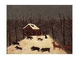 Hunting (Winter with Dogs) Giclee Print by Louis Vivin