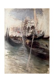 Pier and Saint Marc in Venice (With Gondolas), 1907 Giclee Print by Giovanni Boldini
