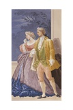 Villa Revedin Ballroom Decoration, Frame with Couple of Lovers Print by Giacomo Casa
