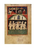 Naked Men and Women Bathing, Medieval Manuscript Painting Posters