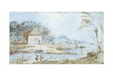 Landscape with Hut and Lake Bank Art by Giacomo Guardi