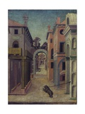 City View (Perspective View with Dog on Leash in Foreground) Prints by Girolamo Marchesi (da Cotignola)