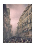 Carnival in Milan, Perspective View of Corso Vittorio Emanuele Art by Carlo Bossoli