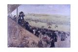 Longchamps Races (Crowd in Stands Follow the Horse Races) Plakat autor Giuseppe De Nittis