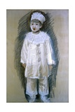 Little Pierrot (Drawing of a Children Dressed as a White Pierrot) Art by Giuseppe De Nittis
