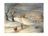 Winter Landscape (Scene with Man and Cow) Prints