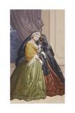 Villa Revedin Ballroom Decoration, Frame with Masked Women Poster by Giacomo Casa