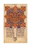 Capital Illuminated Q, 11th C. Manuscript from Benevento Montecassino Print