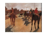 Race Horses in Front of Stands Giclee Print by Edgar Degas