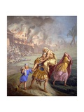Aeneas Flees Troy, with His Father, Wife Creusa, and Son Ascanius Prints by Sebastiano Santi