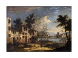 River Landscape with Rural Houses, 1750 Prints