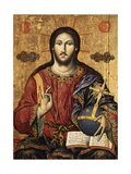 Christ Pantocrator Holding Orbe and Blessing Prints by Mihal Anagnosti