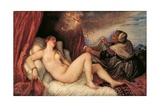 Danae Receiving Zeus in Form of the Shower of Gold Poster af Titian (Tiziano Vecelli)