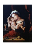 Madonna with Child (Near Table with Grapes, Cherries, and Knife) Prints