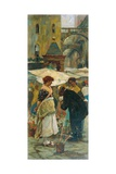 Women Buying Flowers at Piazza Delle Erbe in Verona Giclee Print by Angelo Dall'Oca Bianca