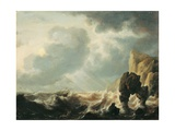 Stormy Sea with a Cliff (Ship tossed in Waves), after Simon Jacobsz De Vlieger, Ca. 1640-1660 Posters by Simon Jacobsz de Vlieger