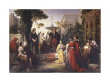 First Day of the Decameron (Author Boccaccio Is on Left in Red Cape) Prints by Francesco Podesti