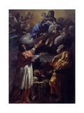 Madonna and Child in Glory, St. Charles Borromeo and Bartholomew Giclee Print by Giovanni Lanfranco