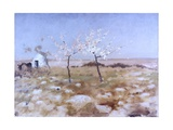 Spring (Landscape with Blooming Almond Trees and Trullo House) Reproduction giclée Premium par Giuseppe De Nittis