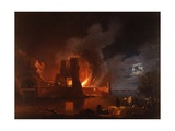 Fire in a Dock (Night Scene) Art by Francesco Fidanza
