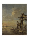 Architectural Capriccio with Roman Ruins and Laguna Posters by Francesco Guardi