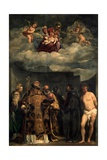 Madonna and Child in the Highest, with Saints Plakater af Titian (Tiziano Vecelli)
