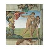 Sistine Chapel Ceiling, Adam and Eve Expelled from Eden Posters by  Michelangelo Buonarroti