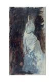 Veils and Silks (Woman Wearing a White Evening Dress) Poster par Giuseppe De Nittis