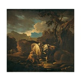 Cattle and Goats in a Landscape Print by Philipp Peter Roos