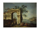Capriccio with Porch of a Building and Obelisk Prints by Francesco Albotto